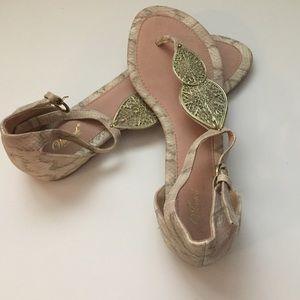 Gold Embellished Blush Colored Snake-skin Sandal